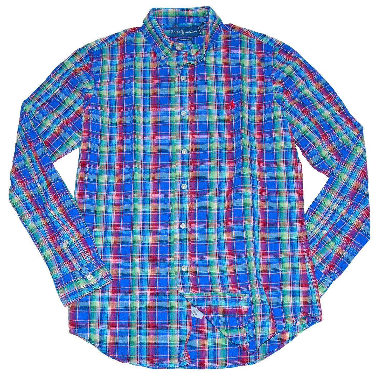 e85a0fc2 RALPH LAUREN Polo Mens Custom Fit Linen Plaid Dress Shirt Blue Red ...