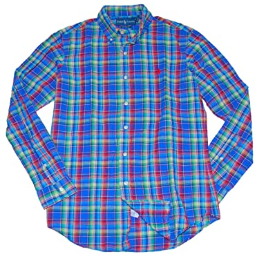 145297ae5 Image Unavailable. Image not available for. Color  RALPH LAUREN Polo Mens  Custom Fit Linen Plaid Dress Shirt Blue ...