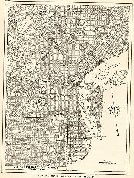 Amazon.com: 1918 Antique Philadelphia Map Original Vintage Map of ...