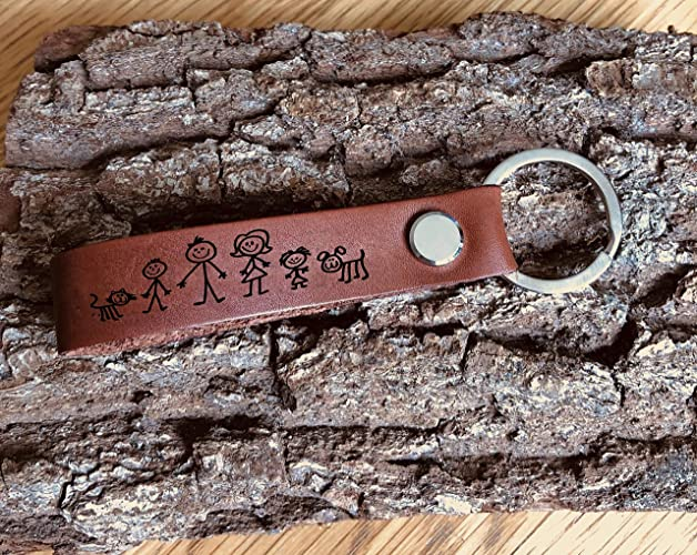 Wedding Personalised Leather Genuine Keyring My Family Gift Anniversary