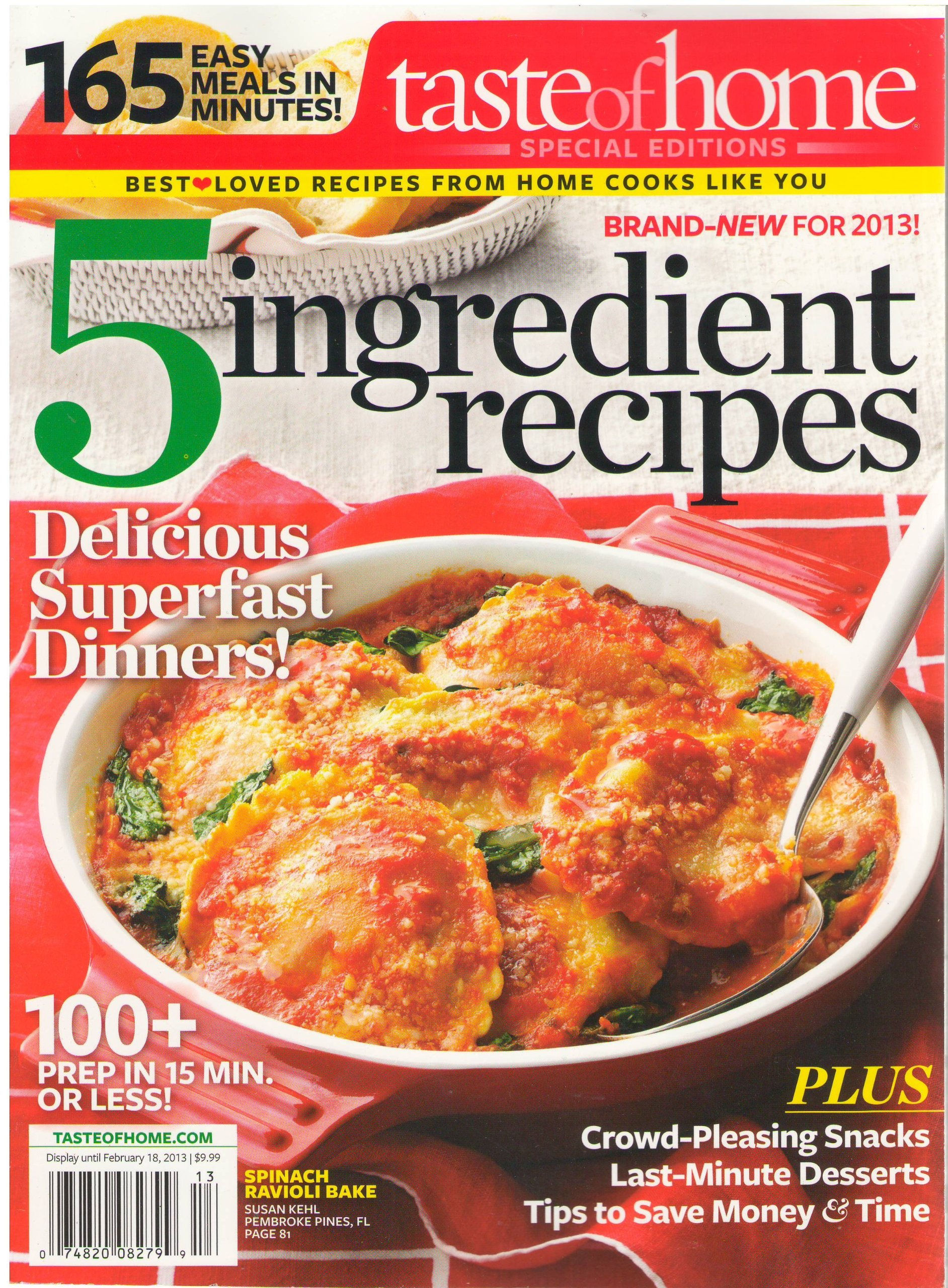 Read Online Taste of Home Magazine (5 Ingredient Recipe Cards) ebook