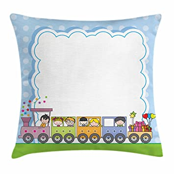 Amazon Kids Party Throw Pillow Cushion Cover Locomotive Train Fascinating Children's Decorative Pillows