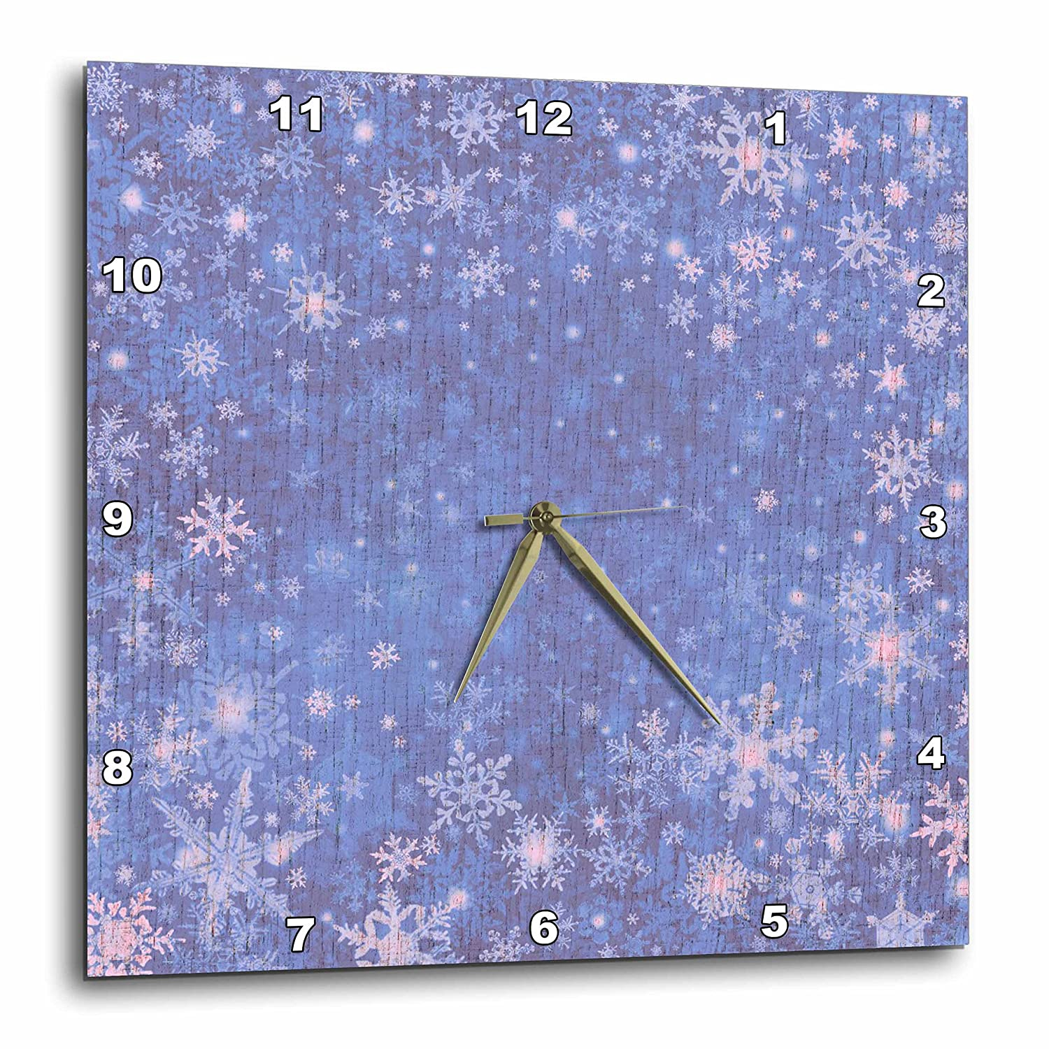 3dRose dpp/_28110/_3 Blue Snowflakes-Wall Clock 15 by 15-Inch