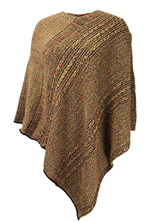 Green 3 Cable Knit Poncho Gold Space Dye Womens Recycled Cotton
