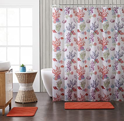 Coral Reef Fabric Shower Curtain Bright And Colorful Fish Seahorse Shells