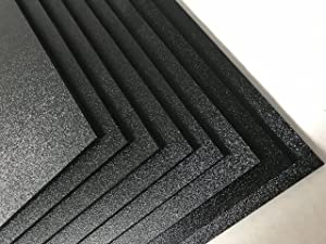 "ABS Black Plastic Sheet 1/16"" x 12"" x 12"" Textured 1 Side Vacuum Forming ( Pack of 8 )"