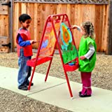 """Colorations - 2WAPE 2-Way Indoor/Outdoor Adjustable Acrylic Panel Easel for Kids (23""""L x 29-1/2""""W x 45""""H)"""