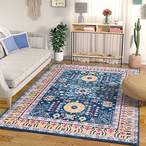 Well Woven Mystic Calloway Blue Bohemian Persian 5 3 x 7 3 Distressed Area Rug