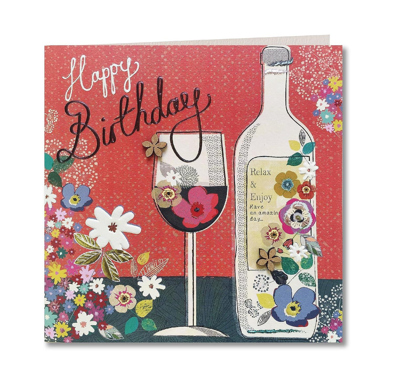 Hecho a mano Tarjeta de felicitación de cumpleaños (para botella de vino y cristal) por Laura Darrington Diseño de taller (oficial): Amazon.es: Oficina y ...