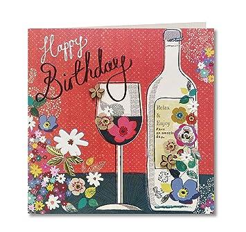 Hecho a mano Tarjeta de felicitación de cumpleaños (para botella de vino y cristal)