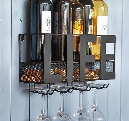 Kenley Wall Mounted Wine Rack Rustic Metal Hanging Wine Bottle Shelf With Holder For 4