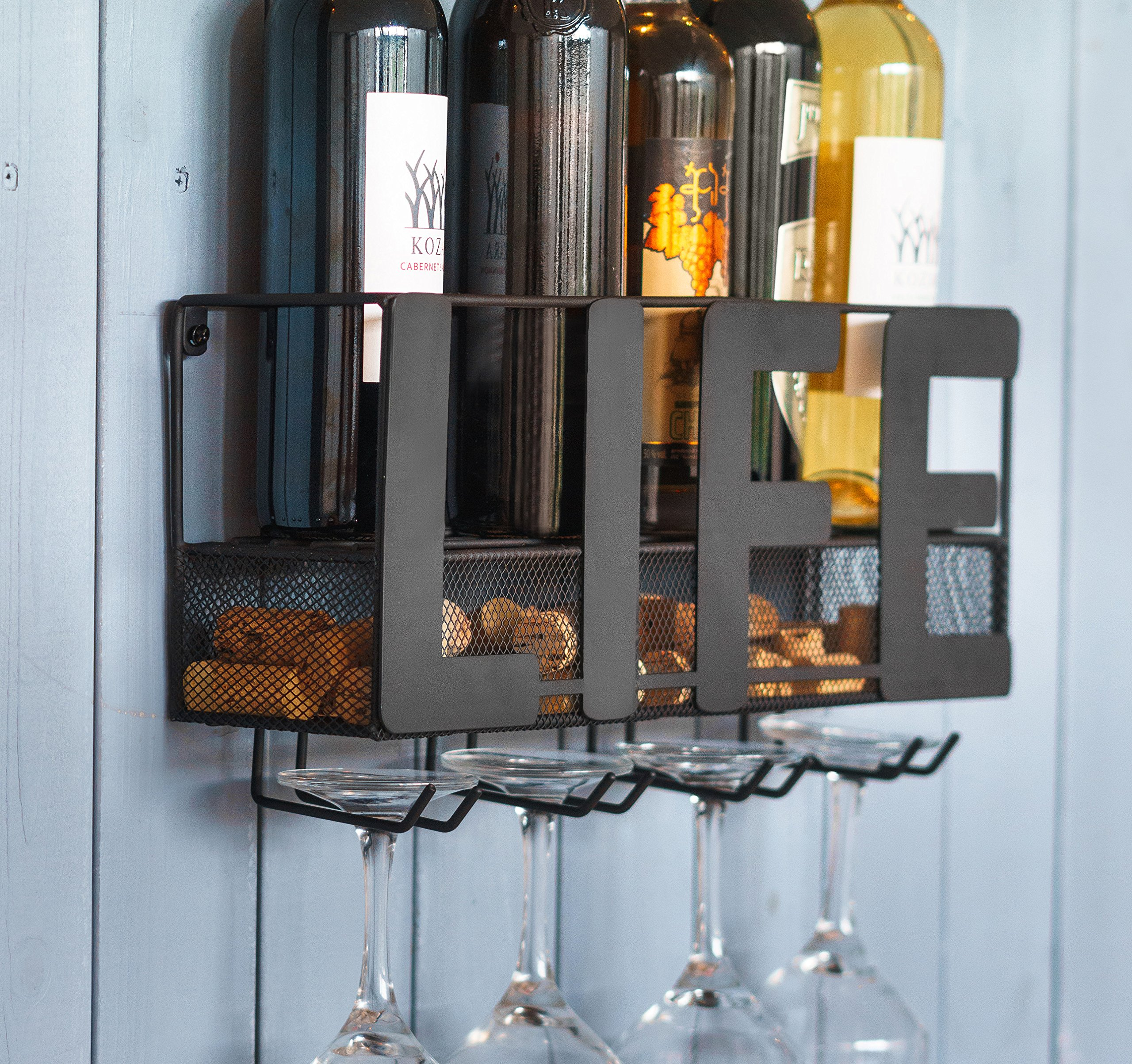 Kenley Wall Mounted Wine Rack - Rustic Metal Hanging Wine Bottle Shelf with Holder for 4 Glasses and Cork Storage - Home Bar & Kitchen Décor Accessories