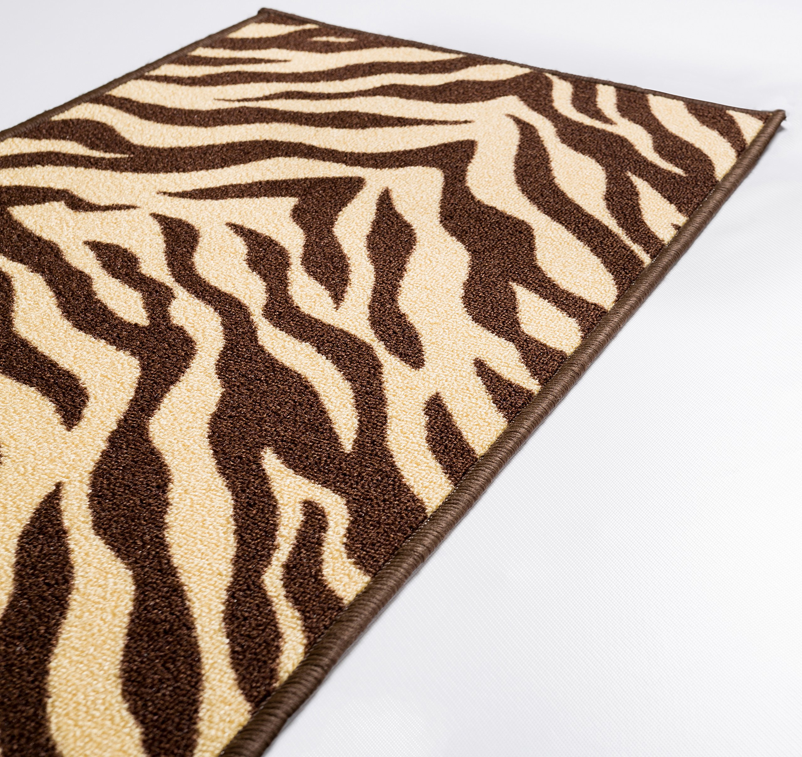 Well Woven 2501-2S Kings Court Zebra Modern Brown Animal Print 1'8'' x 5' Accent Indoor/Outdoor Runner Rug by Well Woven (Image #4)