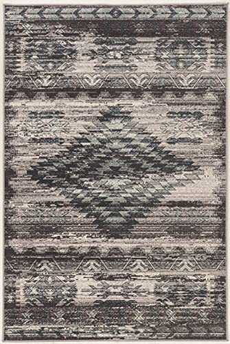 Linon Vintage Collection Aztek Synthetic Rugs, 9 x 12 , Gray