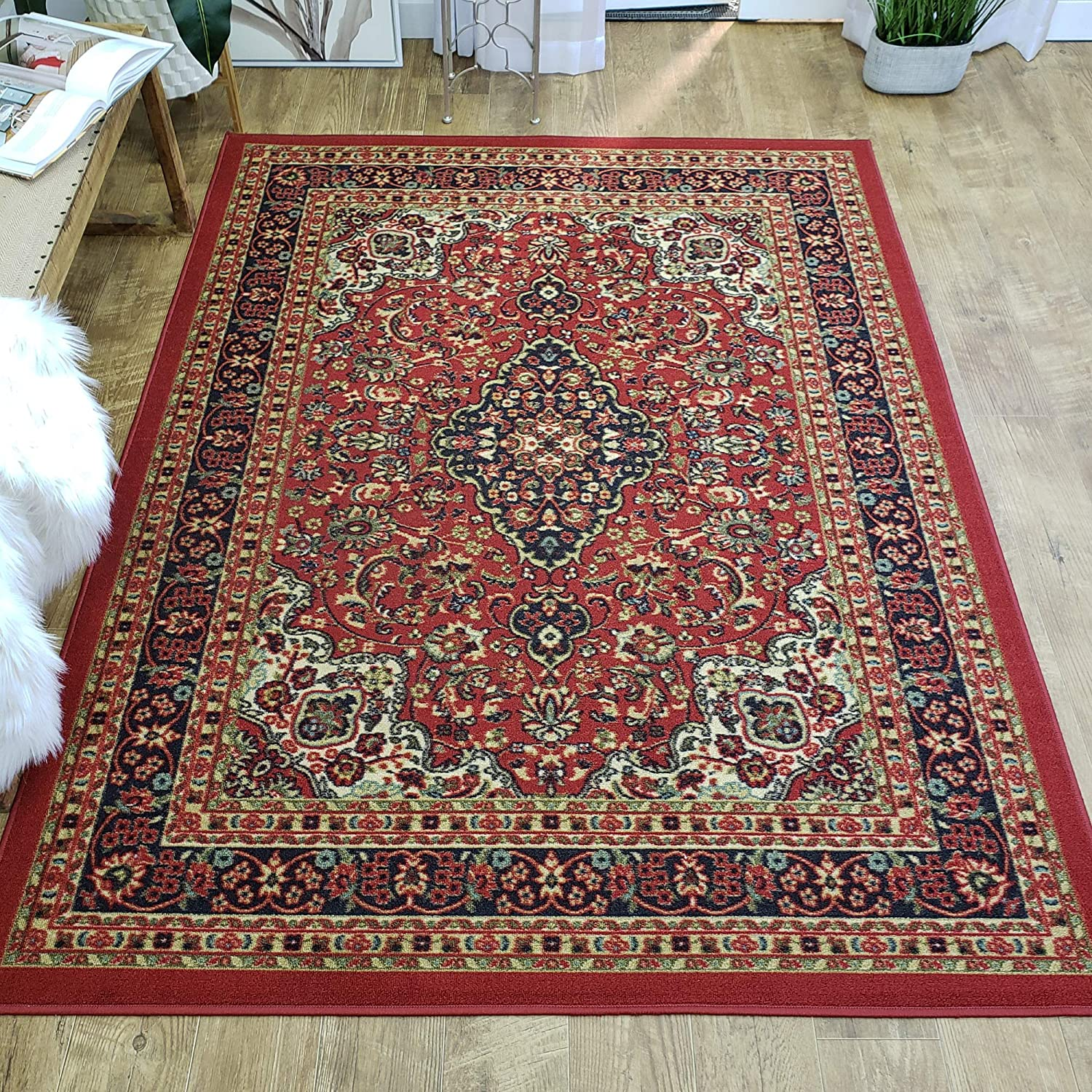 Area Rug 5x7 Red Medallion Kitchen Rugs and mats | Rubber Backed Non Skid Living Room Bathroom Nursery Home Decor Under Door Entryway Floor Non Slip Washable | Made in Europe