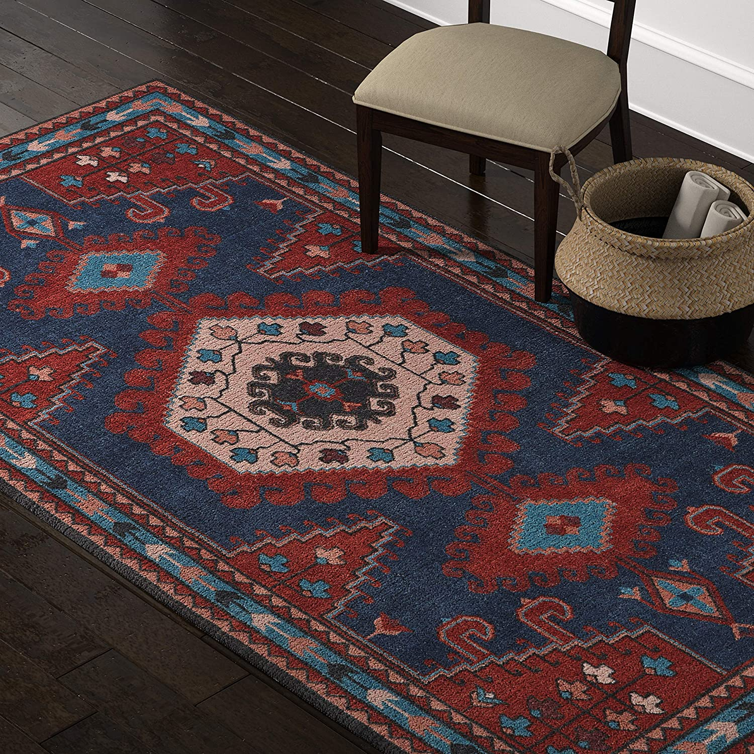 Amazon Brand – Stone & Beam Modern Persian Area Rug, 5 x 8 Foot, Blue and Red Multicolor