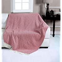Fashion Throw 100% Soft Cotton Sofa and Couch Throw Blanket with Tassels Size : 50X60 inch (Mehroon)
