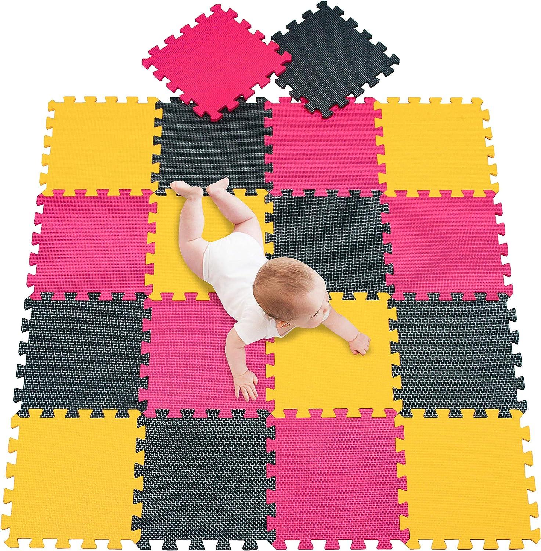 meiqicool Puzzle Tapis Mousse b/éb/é 18 pi/èces//Dalles 30x30 cm Enfant Bas /âge Tapis de Jeu Tr/ès R/ésistant pour Enfants Tapis de Jeu Puzzle Mousse Souple Jaune Rouge 0509