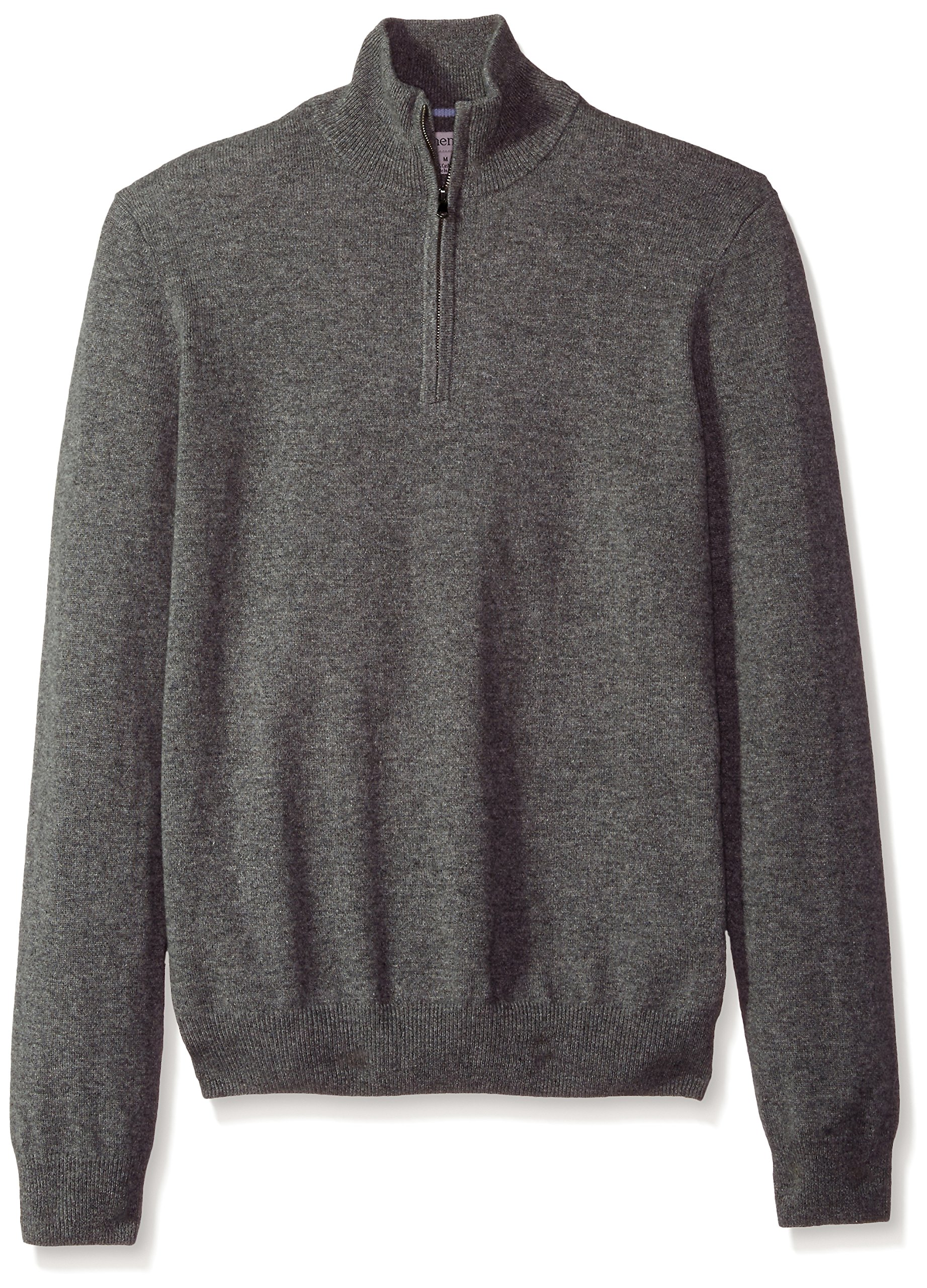 Phenix Cashmere Men's 1/4 Zip Sweater With Contrast Color Tipping, Gry/Lt. Blue, Small