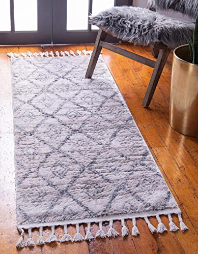 Unique Loom Titan Collection Modern Geometric Soft Shaggy Pile Beige Runner Rug 3 6 x 13 0