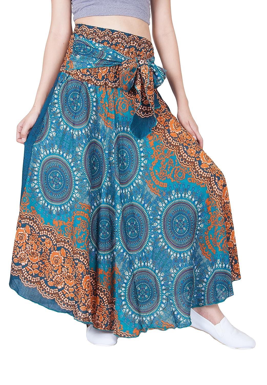 Lofbaz Bohemian High-Waisted Women's Skirt Hippie Style Flowers One Size