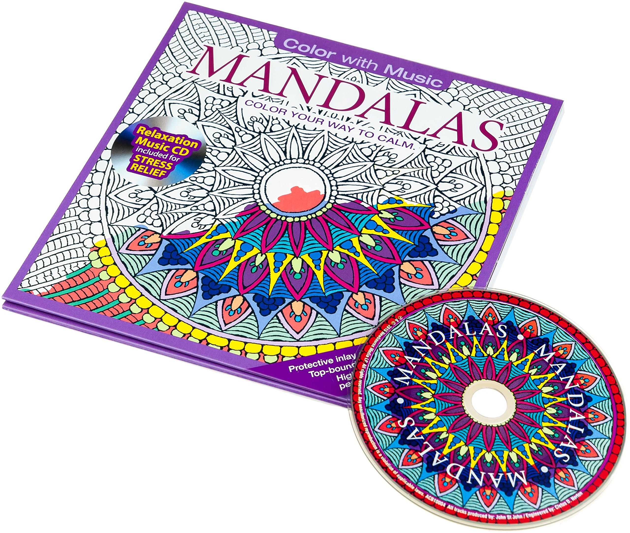 Amazon Mandalas Adult Coloring Book With Bonus Relaxation Music CD Included Color With Music Various Artists Books