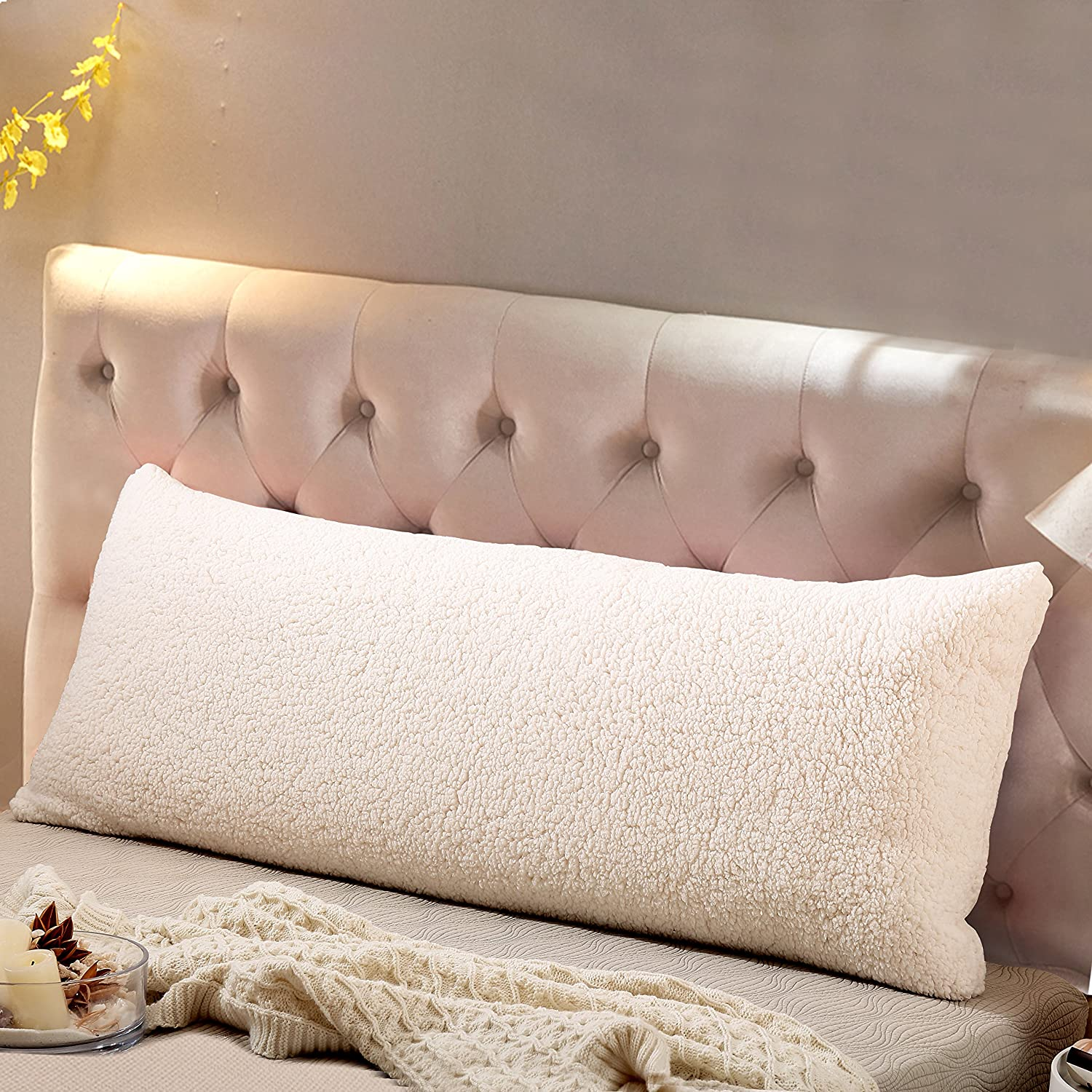 "Reafort Ultra Soft Sherpa Body Pillow Cover/Case with Zipper Closure Silver Grey 21""X54""(Cream, 21""X54"")"