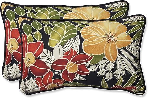 Pillow Perfect Outdoor Indoor Clemens Noir Black Lumbar Pillows, 11.5 x 18.5 , Pack of 2