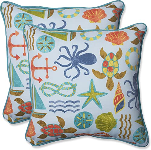 Pillow Perfect 569475 Outdoor Indoor Seapoint Summer Throw Pillows, 18.5 x 18.5 , Blue