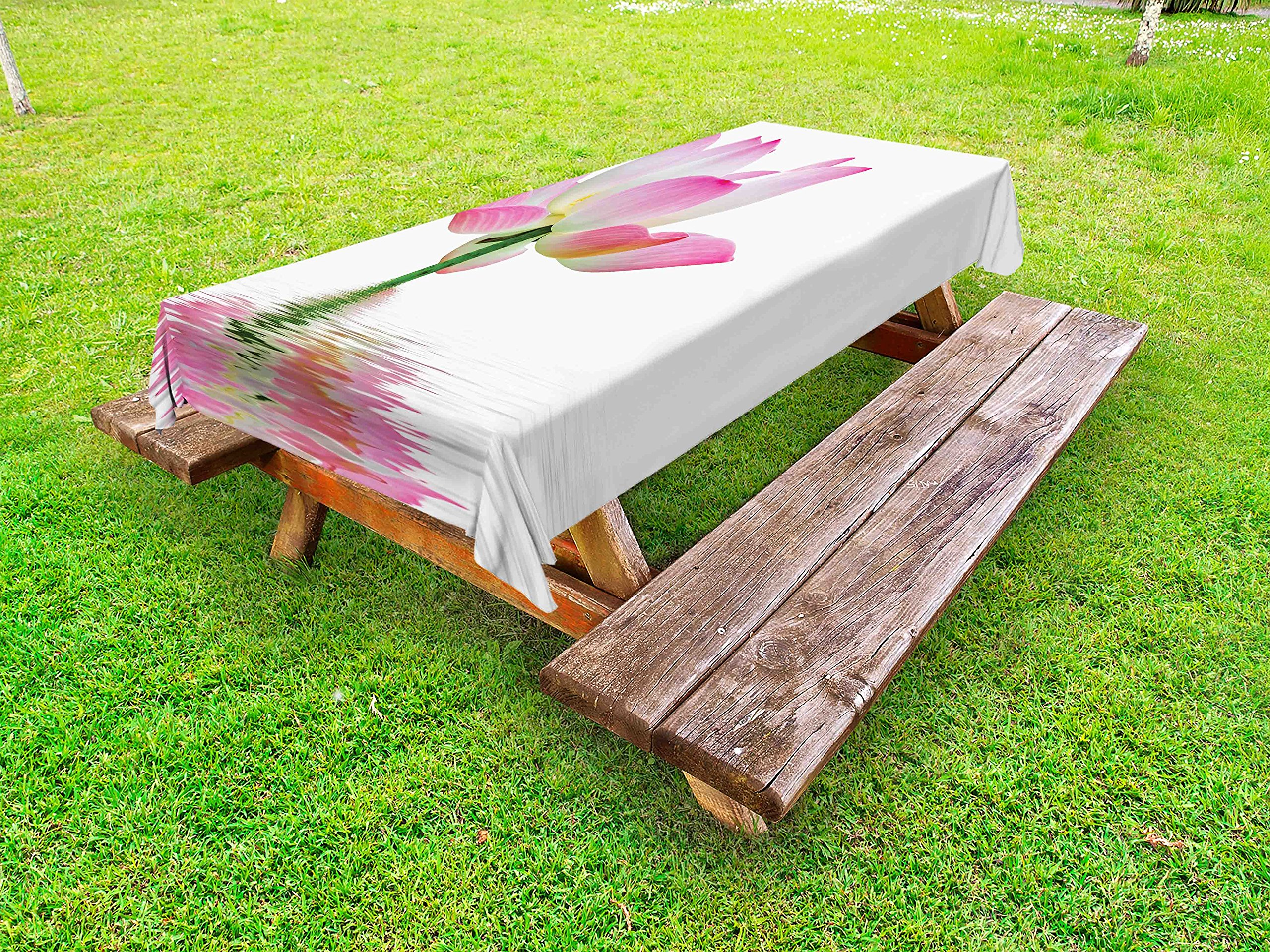 Ambesonne Pink and White Outdoor Tablecloth, Lotus Flower in Freshwater Aquatic Nature Relaxation and Spa Theme, Decorative Washable Picnic Table Cloth, 58 X 120 inches, Pink White Green
