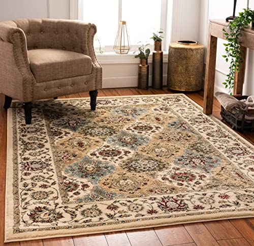 Well Woven Persian Oriental Panel Area Rug Ivory Multicolor 5×7 5'3″ x 7'3″