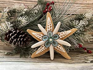 Sugar Starfish Tree Topper with Seashells and Limpet, 6 inch Coastal Christmas Tree Topper