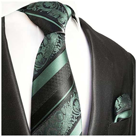 P.M. Krawatten Paul Malone Corbata de seda menta verde negro ...