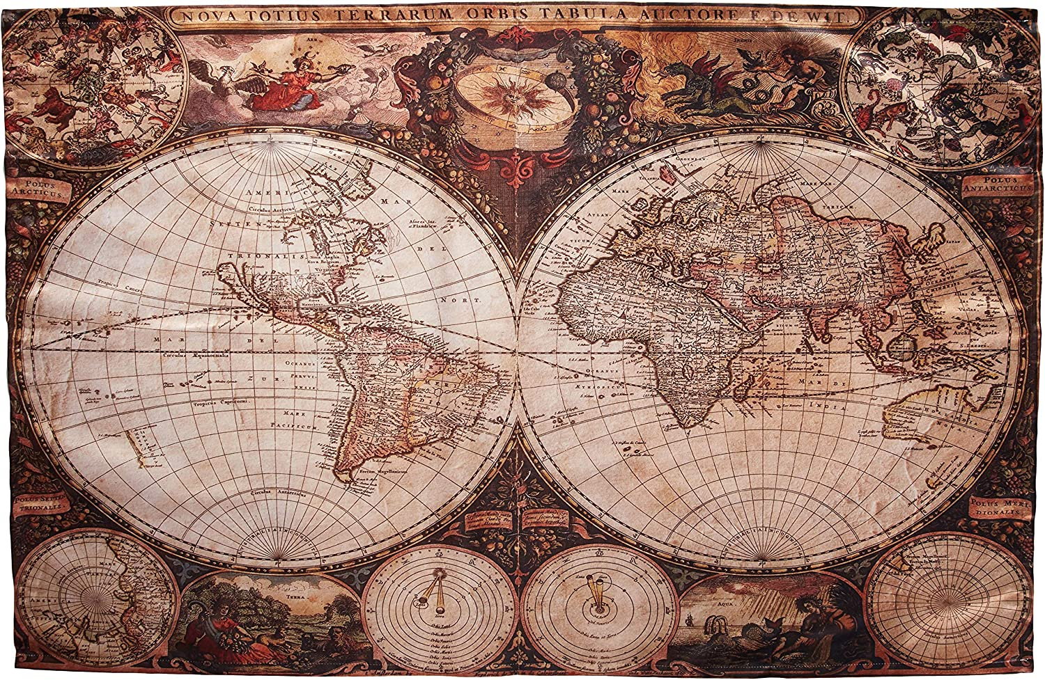 Ambesonne World Map Tapestry Vintage Wanderlust Decor, Image of Old Map in 1720s Nostalgic Style Art Historical Atlas Decor, Bedroom Living Room Dorm Wall Hanging Art, 60 X 40 Inches, Brown Beige