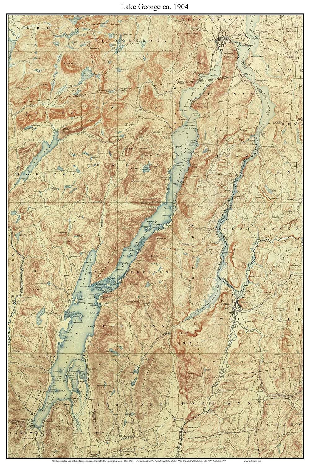 Amazon.com: Lake George - 1904 USGS Old Topographic Map Custom ...