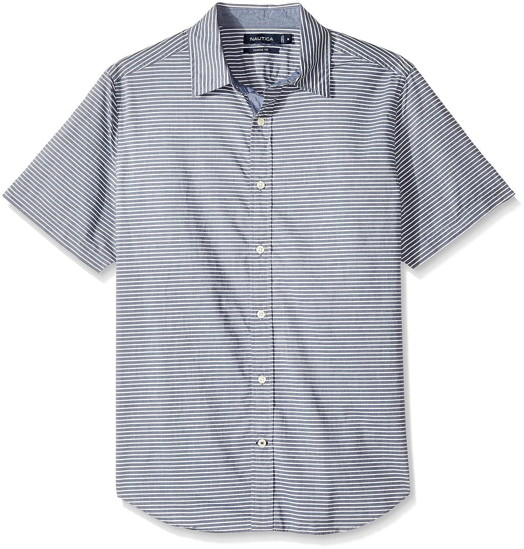 d07df14da1 Nautica Men's Short Sleeve Classic Fit Striped Button Down Shirt at Amazon  Men's Clothing store: