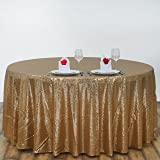 BalsaCircle 108-Inch Gold Sequin Round Tablecloth for Wedding Party Cake Dessert Events Table Linens