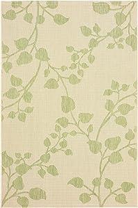 Green and Beige Leaves Indoor/Outdoor Accent Rug