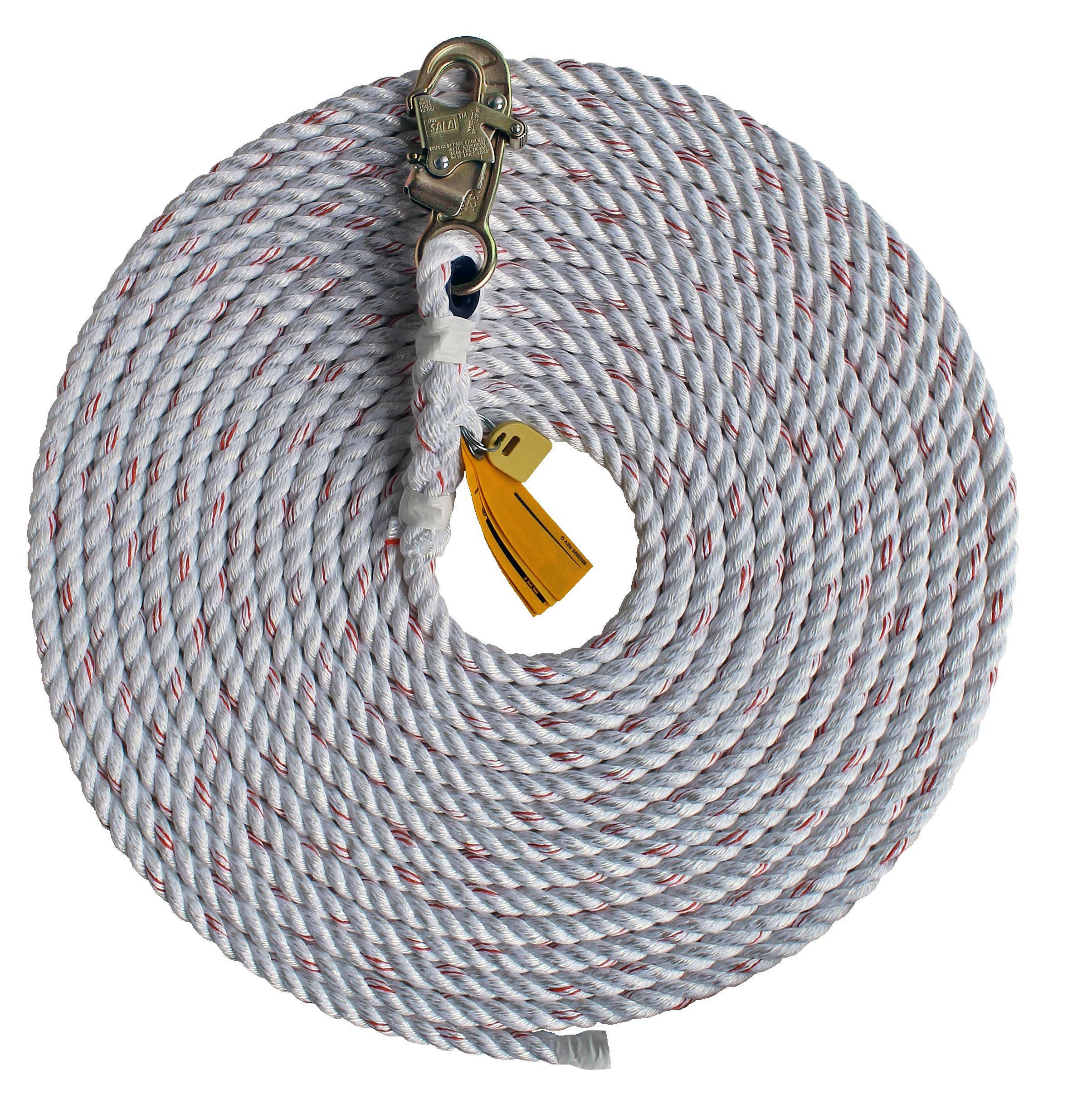 3M DBI-SALA 1202821 Dropline Rope, 75' Polyester/Polypropylene Blend 5/8'' Diameter Rope with Snap Hook At One End, White
