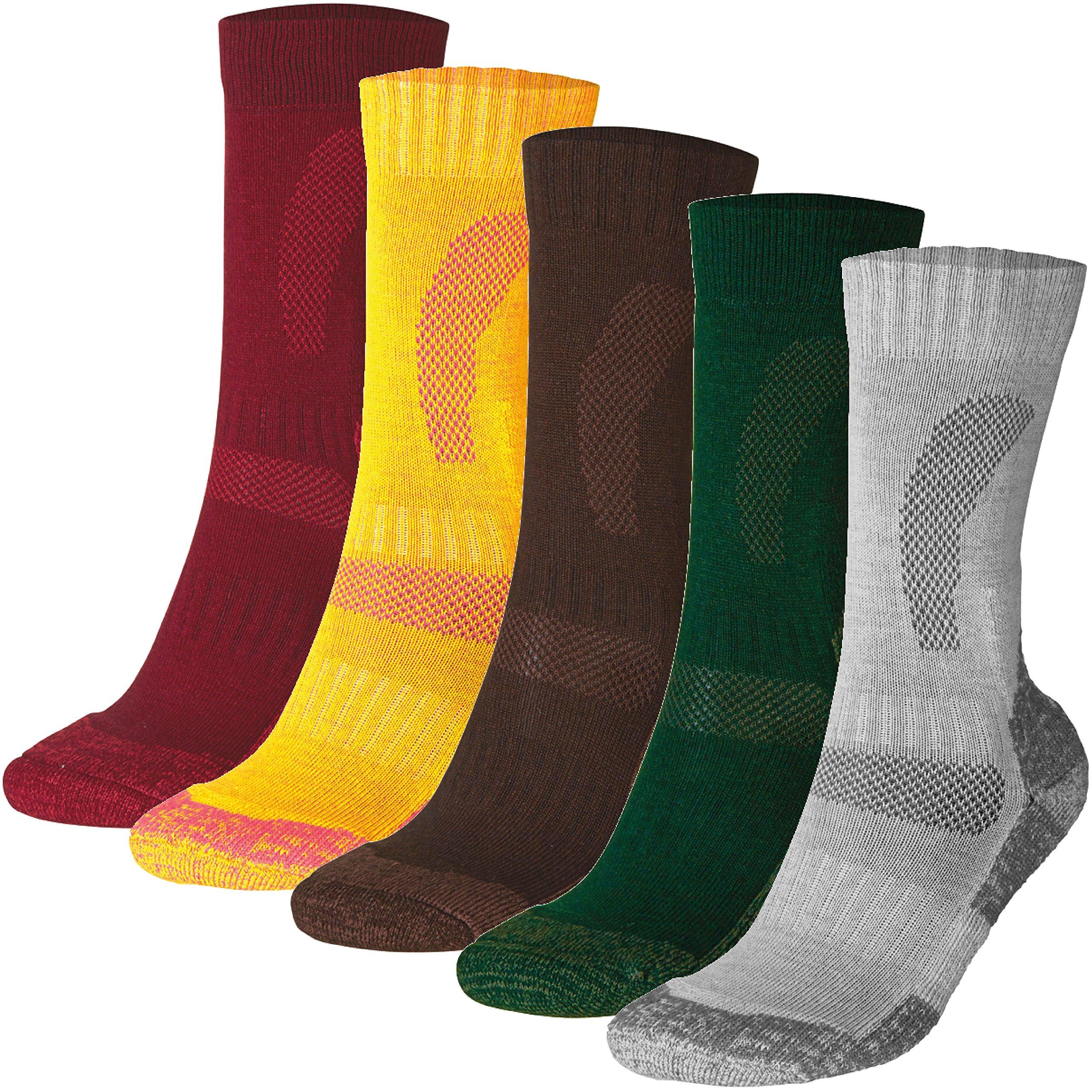 DANISH ENDURANCE Merino Wool Hiking & Trekking Socks (Multicolor: Brown, Red, Green 3 Pairs, US Women 8-10//US Men 6.5-8.5)