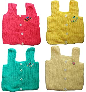 87cae0e2635 PEUBUD Hand Made New Born Baby Woolen Sleeveless Front Open Sweater Set  (0-4Months