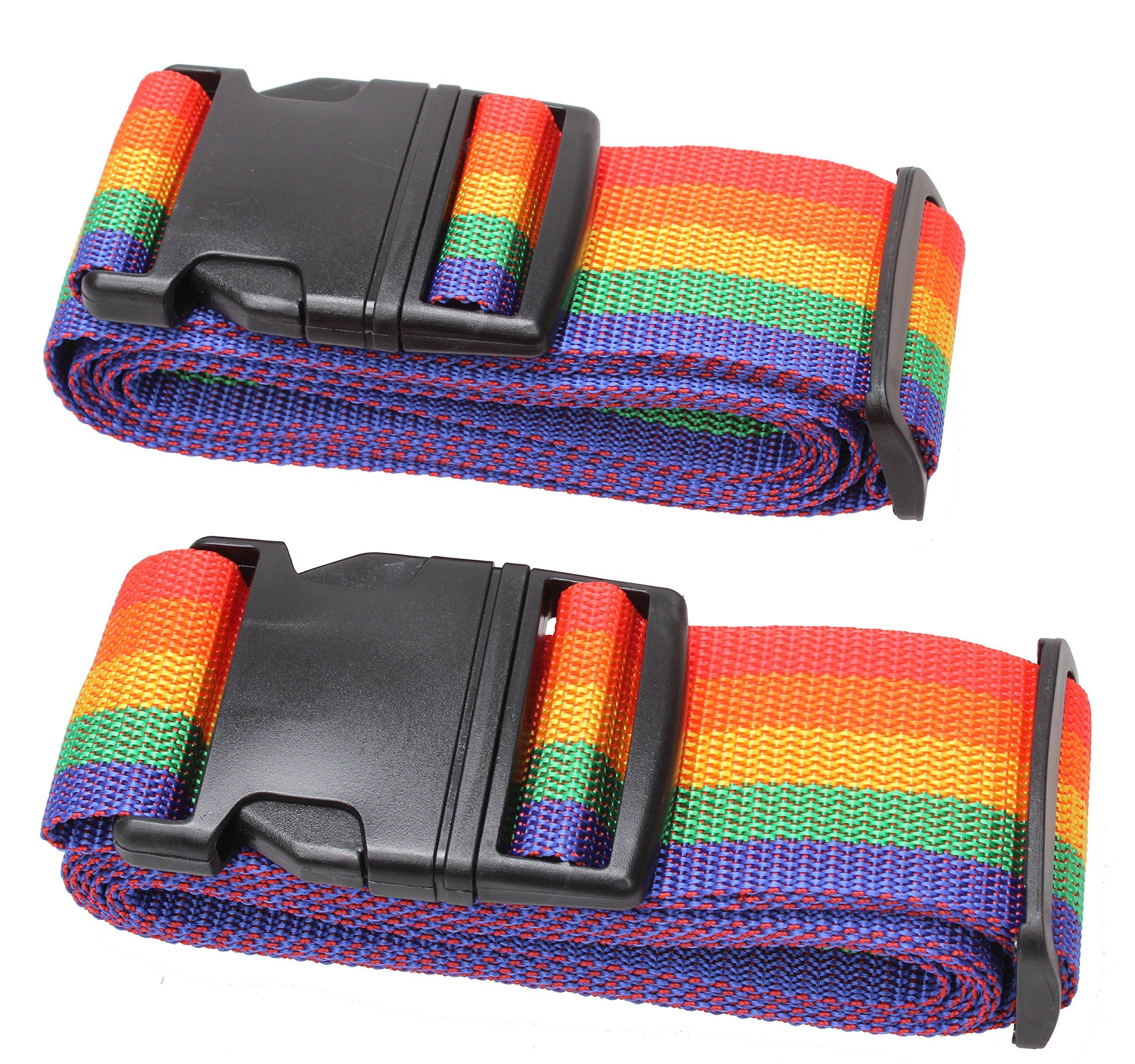 Adjustable Travel Luggage Strap Suitcase Security Belt Straps #L18B (2Multi01)