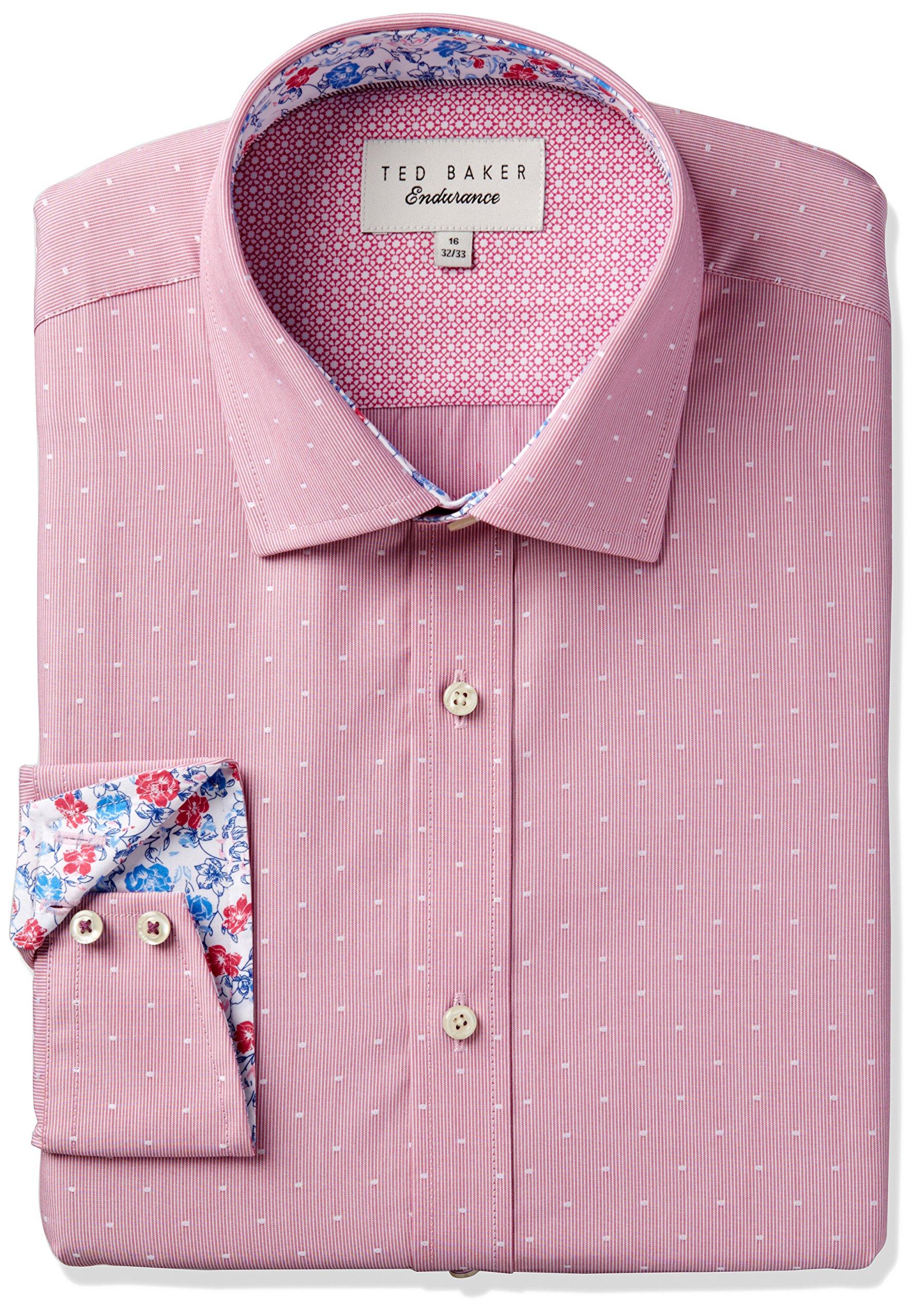 Ted Baker Men's Slim Fit Crete Dobby Dot Dress Shirt, Pink, 16.5'' Neck 34''-35'' Sleeve