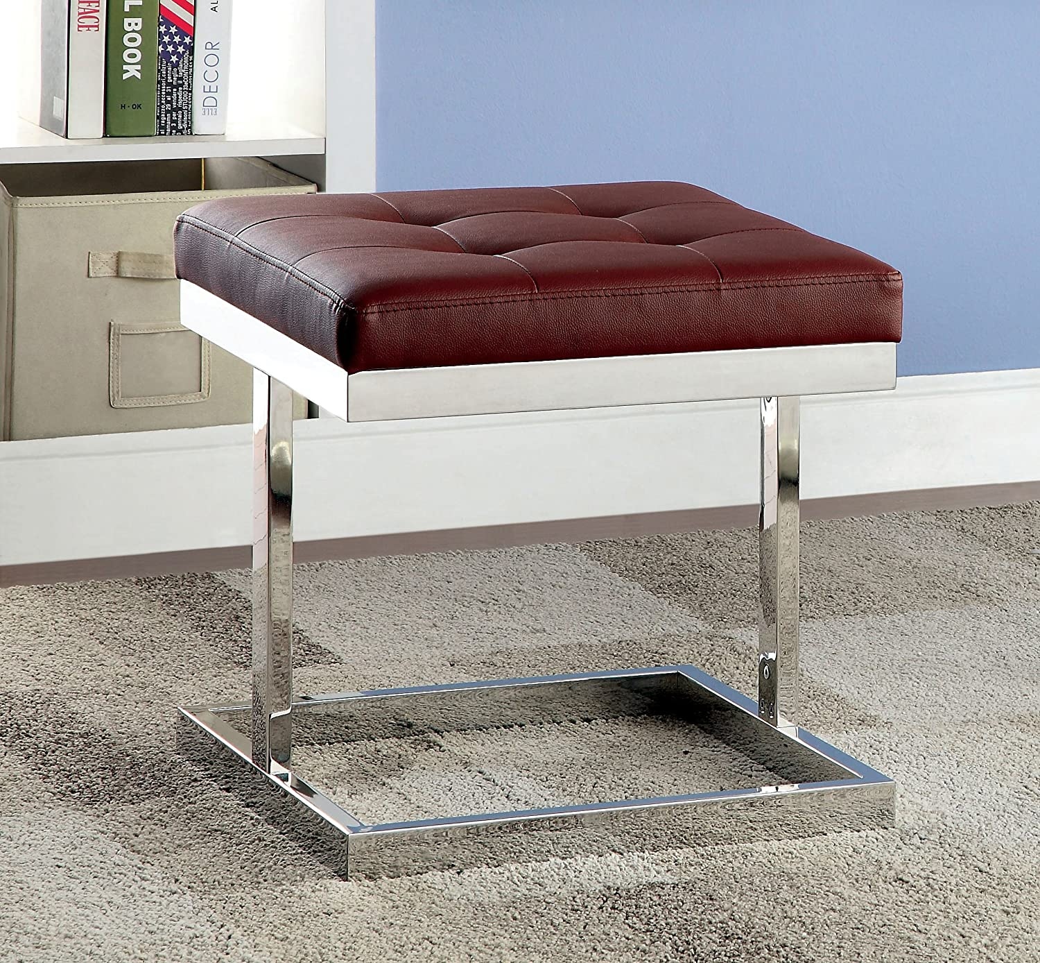 Furniture of America Kovella Leatherette and Chrome Accent Ottoman, Red IDF-AC6901RD