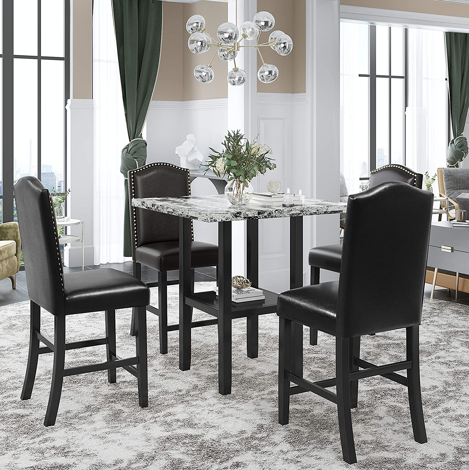 Harper Bright Designs 5 Piece Dining Table Set With Faux Marble Veneer Tabletop Bottom Shelf 4 Upholstered Chairs For Kitchen Dining Room Furniture Set Black Chair Gray Table Table Chair