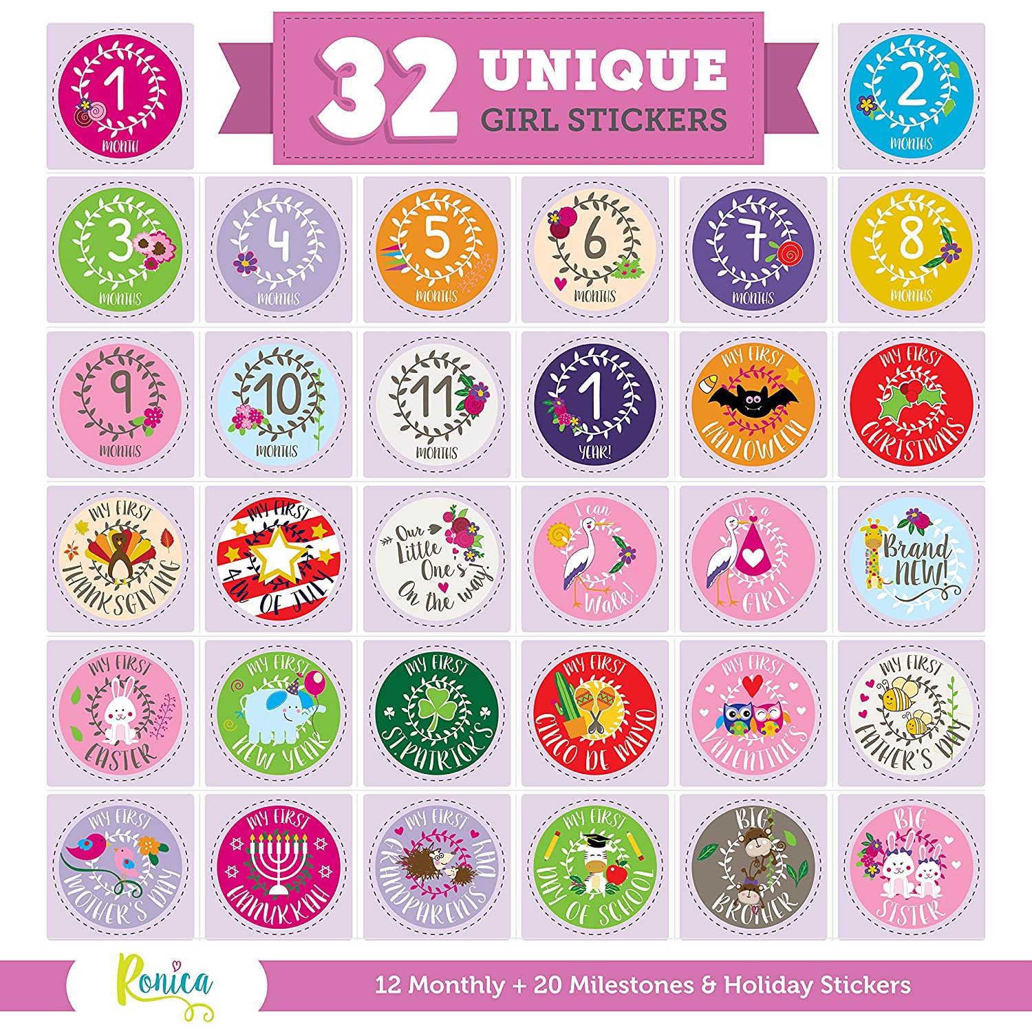 Massive Pack of 32 Ronica Baby Girl Stickers: 12 Baby Monthly Stickers + 20 Popular Milestones Baby Stickers - Record Your Baby's Growth, Holidays and Special Firsts - Unique Baby Gifts 6.47904E+11