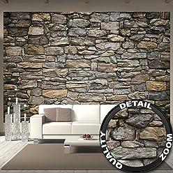 great-art Fototapete Grey Stonewall - 336 x 238 cm 8-Teilige Wandtapete Steintapete Steinoptik Wanddeko 3D Tapete graue Steinwand