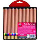 Koh-I-Noor Tri-Tone Multi-Colored Pencil Set, 24 Assorted Colors in Tin and Blister-Carded (FA33TIN24BC)
