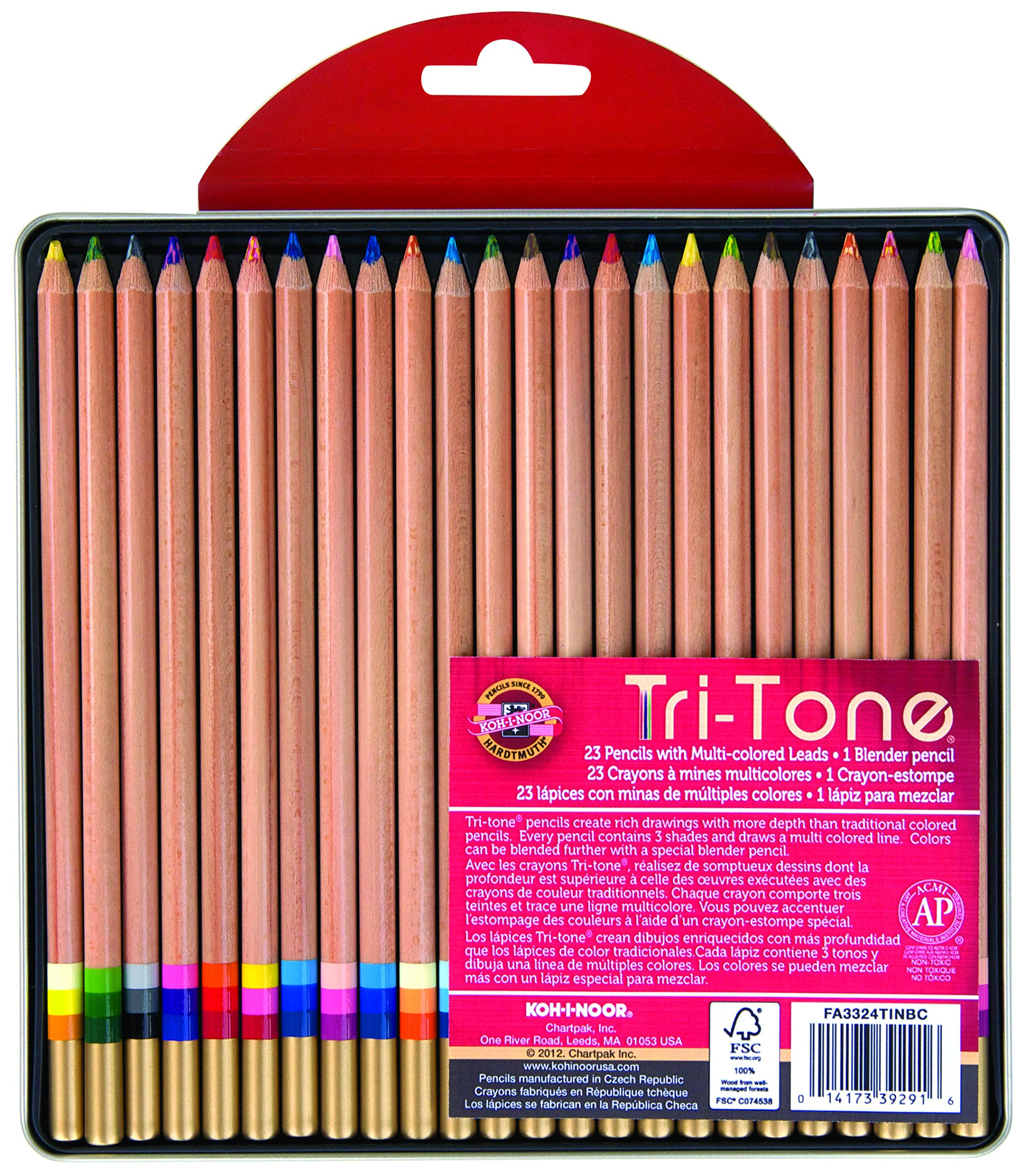 Koh-I-Noor Tri-Tone Multi-Colored Pencil Set, 24 Assorted Colors in Tin and Blister-Carded (FA33TIN24BC) by Koh-I-Noor