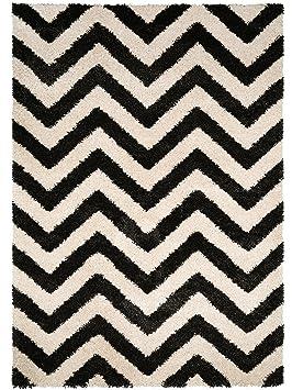 benuta Tapis de salon moderne Graphic Zick Zack pas cher Noir & Blanc  120x170 cm - Label de qualité GuT - 100% Polypropylène - Chevron - Tissé à  la ...